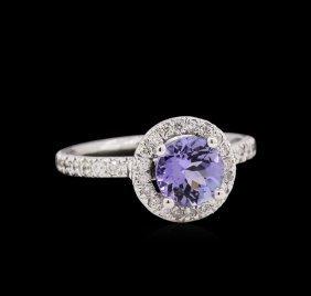 1.25ct Tanzanite And Diamond Ring - 14kt White Gold