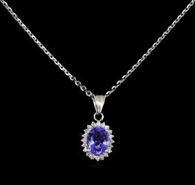 1.98ct Tanzanite And Diamond Pendant - 14kt White Gold