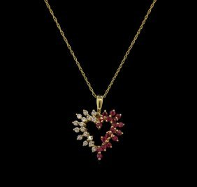 0.10ctw Ruby And Diamond Pendant With Chain - 14kt