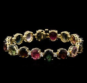 35.00ctw Multi-color Tourmaline And Diamond Bracelet -