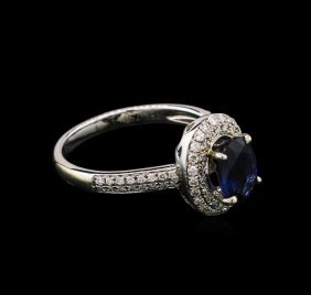 1.50ct Sapphire And Diamond Ring - 18kt White Gold