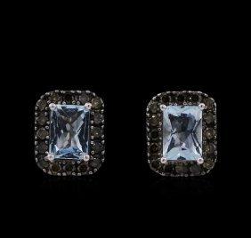 1.90ct Aquamarine And Diamond Earrings - 14kt White