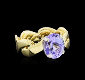 4.61ct Tanzanite Ring - 18kt Two-tone Gold