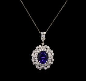 3.61ct Tanzanite And Diamond Pendant With Chain - 18kt