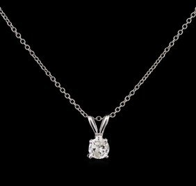 0.25ct Diamond Pendant With Chain - 14kt White Gold