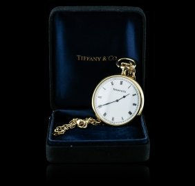 Tiffany & Co. 18kt Yellow Gold Open Face Pocket Watch