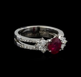 1.25ct Ruby And Diamond Ring - 18kt White Gold