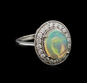 2.58ct Opal And Diamond Ring - 14kt White Gold