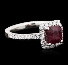 18kt White Gold 1.00ct Ruby And Diamond Ring