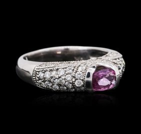 14kt White Gold 0.43ct Pink Sapphire And Diamond Ring