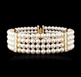 14kt Yellow Gold Pearl And Diamond Choker