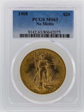 1908 Pcgs Ms63 $20 No Motto St. Gaudens Double Eagle