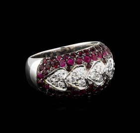 2.00ctw Ruby And Diamond Ring - 14kt White Gold