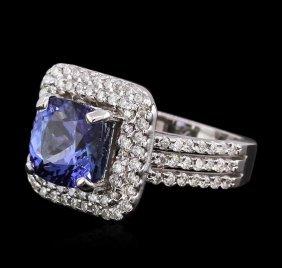 14kt White Gold 2.93ct Tanzanite And Diamond Ring