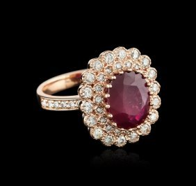 14kt Rose Gold 4.86ct Ruby And Diamond Ring