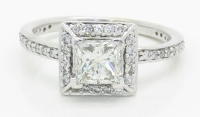 Gia Certified 1.39ctw Diamond Ring - 14k White Gold