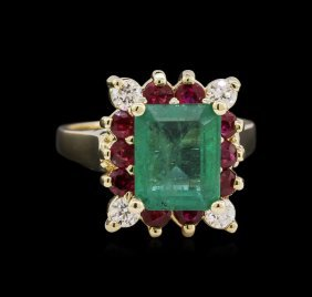2.75ct Emerald, Ruby, And Diamond Ring - 14kt White