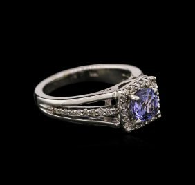1.10ct Tanzanite And Diamond Ring - 14kt White Gold