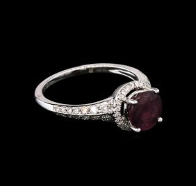 1.63ct Ruby And Diamond Ring - 18kt White Gold