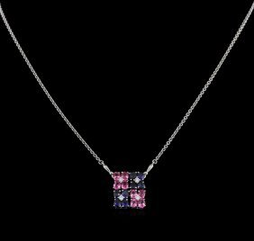 2.00ctw Multi Color Sapphire And Diamond Necklace -