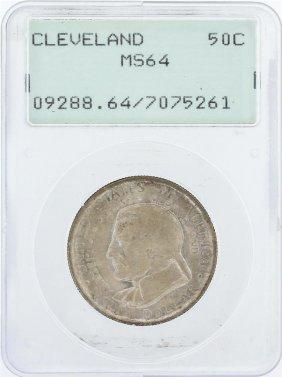 1936 Pcgs Graded Ms64 Cleveland Commemorative Half