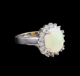 2.31ct Opal And Diamond Ring - 14kt White Gold