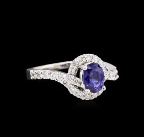 0.90ct Blue Sapphire And Diamond Ring - 14kt White Gold