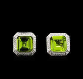 6.67ctw Peridot And Diamond Earrings - 18kt White Gold