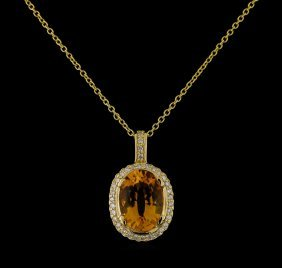 5.45ct Citrine And Diamond Pendant With Chain - 14kt