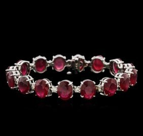 50.30ctw Ruby And Diamond Bracelet - 14kt White Gold