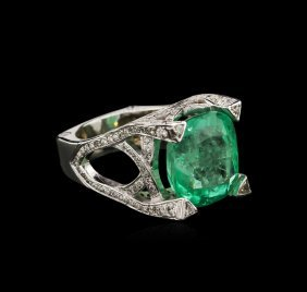 14.90ct Emerald And Diamond Ring - 14kt White Gold