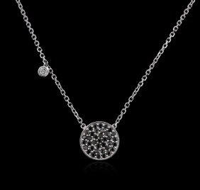 14kt White Gold 0.55ctw Black Diamond Necklace