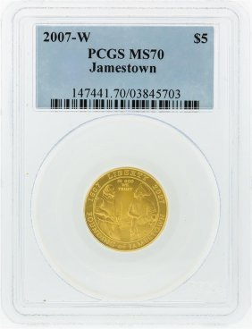 2007-w Pcgs Ms70 $5 Jamestown Gold Coin