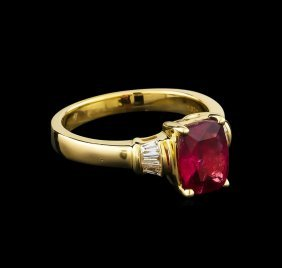 1.90ct Rubellite And Diamond Ring - 14kt Yellow Gold