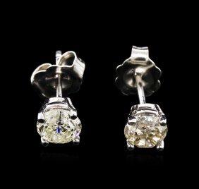 0.96ctw Diamond Stud Earrings - 14kt White Gold