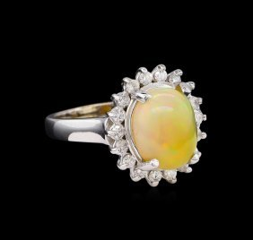 3.07ct Opal And Diamond Ring - 14kt White Gold