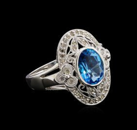 3.50ct Blue Topaz And Diamond Ring - 14kt White Gold