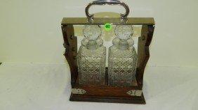Antique English Oak And Chrome, Two-bottle Tantalu