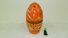 Antique Czech Glass Egg Liquor Decanter