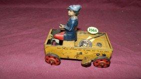 1920s STRAUSS LEHMANN TIN WIND UP MAN DRIVING CAR