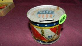 Child's Vintage Metal J. Chein Toy Drum Bank
