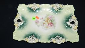Antique Porcelain RS Prussia Floral Dresser Tray Co