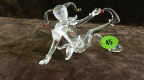 Great Marked Swarovski Crystal Clown Figurine No Bo