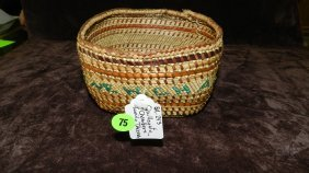Authentic Native American Handmade Woven Basket, Qu