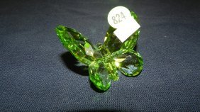 Great Stamped Swarovski Crystal Green Butterfly Fi