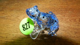 Great Stamped Swarovski Crystal Blue Frog Figurine