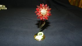 Great Stamped Swarovski Crystal Flower On Stand Fi