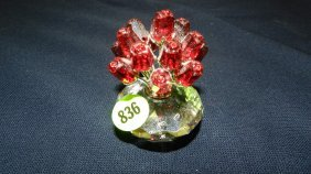 Great Stamped Swarovski Crystal Flowers Figurine