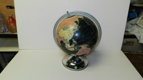 Mid Century Chrome Globe With Black Background