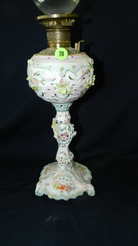 Nice Porcelain Painted Meissen Style Oil Lamp Insert Lot 70